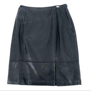 St John Leather Skirt Zipper Leg Slit Black 4